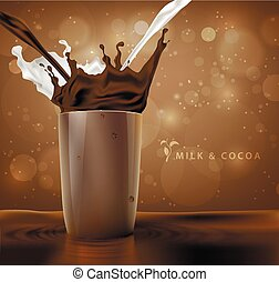splashes of milk with cocoa and chocolate background with...