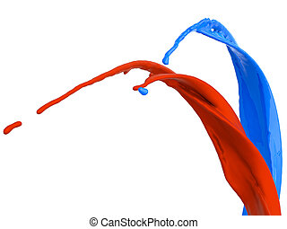 Splashes of red and blue liquid isolated