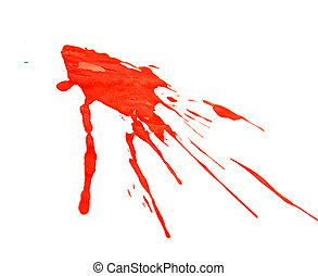 Splashes of red paint. On a white background.