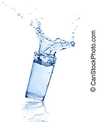 splashes of water in a glass
