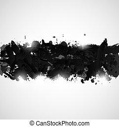 splashes., pintura, abstratos, experiência preta