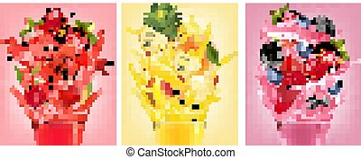splashes., set, aardbei, etiketten, framboos, fruit, guava, sap, perzik, vector., blueberry., braambes, ananas, watermeloen