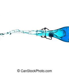 Splashing bottle with blue drink