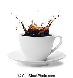 splashing coffee - cup of splashing coffee isolated on white