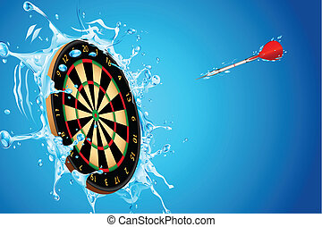 Splashing Dart Board - illustration of dart board with arrow...