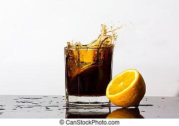 Splashing drink of Cola