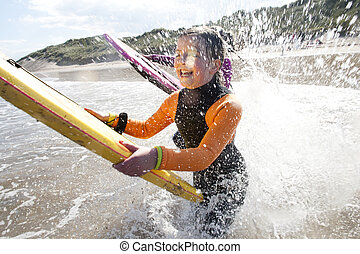 Splashing in the sea with Bodyboards