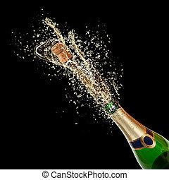 splashing, isolated, шампанское, тема, черный, задний план,...