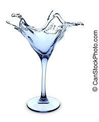 Splashing martini cocktail glass - 3d isolated on white...