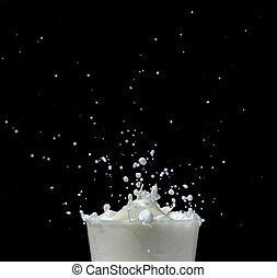 Splashing milk on black background