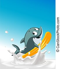 Splashing milk with fit surfing dolphin character flat design vector illustration