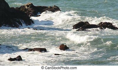 Splashing Ocean waves on the Oregon Coast