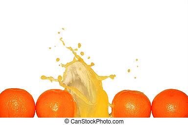 Splashing Orange Juice On White