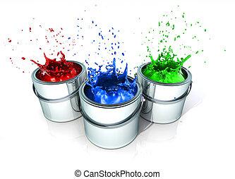 Splashing paint - Paint splashing in paint cans - 3d render