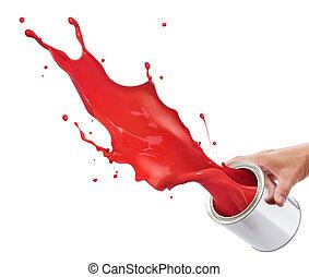 splashing red paint