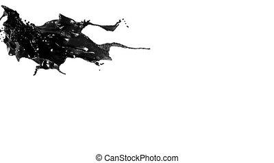 splashing spilling black fluid in slow motion. juice
