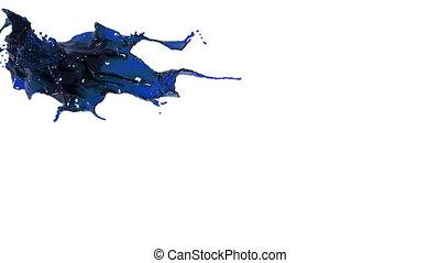 splashing spilling blue fluid in slow motion. colored oil
