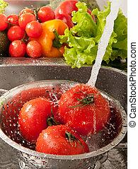 Splashing vegatables - Fresh vegetables splashing in water...