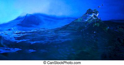 splashing water in deep blue backgr