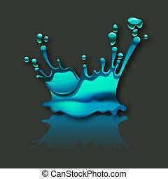 splashing water with reflection