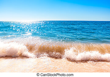 Splashing wave on the ocean on the bright summer day