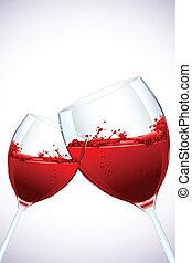 illustration of pair of splashing wine glass