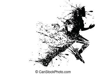 Splashy Runner - illustration of splashy runner silhouette...