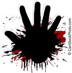 splat, blod, hand