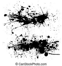 splat dribble grunge - Two ink splat designs with dribble...