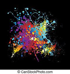 splat, inchiostro, arcobaleno