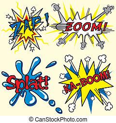 splat, zoom, livre, kaboom, comique, flinguer