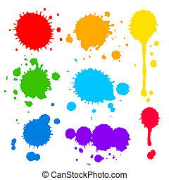 splats, pintura, coloreado, gotas