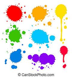 splats, vernice, colorato, blobs