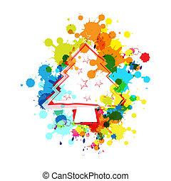 splatter, albero, natale, fondo, inchiostro