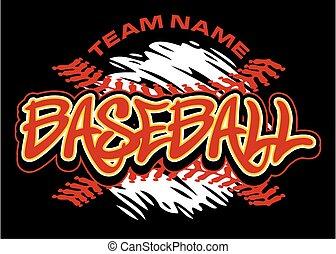 baseball design with splatter baseball and red stitches on black background