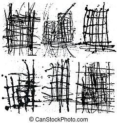 Splatter Black Ink Background collection set. Hand Drawn Spray Blots and Splashes