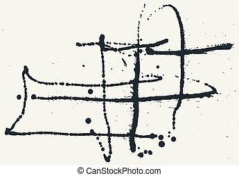 Splatter Black Ink Background. Hand Drawn Spray Blots
