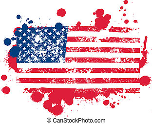 Splatter Flag - united states flag splattered paint