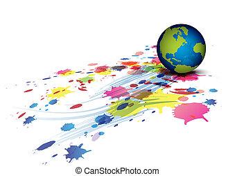 splatter, globo, fondo, inchiostro
