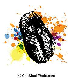 splatter, impronta pollice, inchiostro