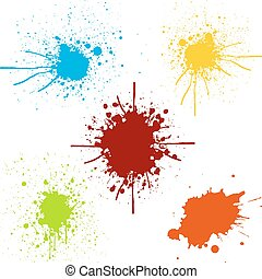 splatter pack Collection of paint color.illustration vector design