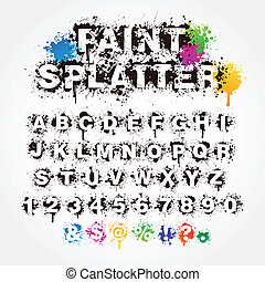 splatter, pintura, números, alfabeto