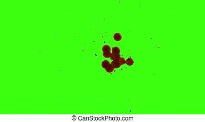 splatter, scherm, vrijstaand, gespetter, groene, bloed, rood