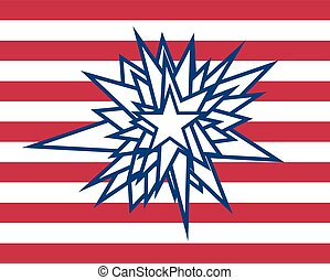 splatter star with red white stripes