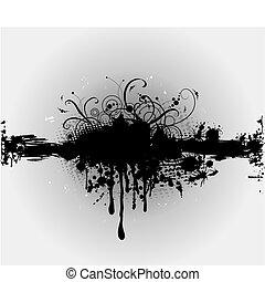 splatter., vektor, plaint, inkoust, grungy, nebo