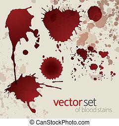 Splattered blood stains, vector set 5