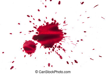 splattered red paint isolated on white background