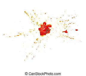 splattered splashed tomato vegetable food - close up of a...