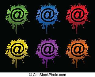 splatters, vector, email, /, inkt