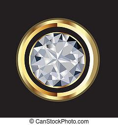 splendere, diamante, oro, vettore